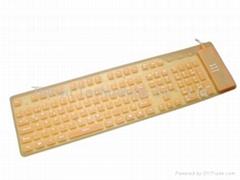 批发109键USB硅胶键盘/可卷可折叠、防水