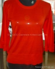 Women's red color cashmere garments