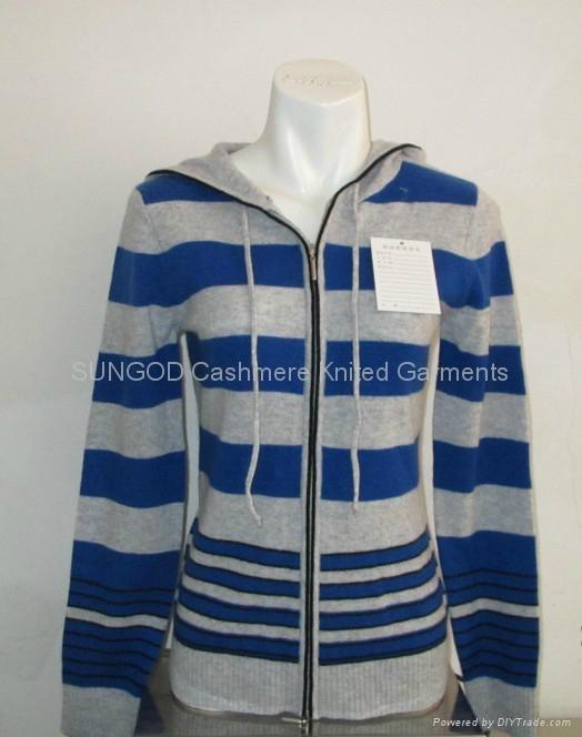 Ladies' stripe hoodie zipper cardigans 1