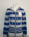 Ladies' stripe hoodie zipper cardigans