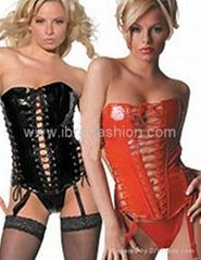 Sexy PVC Leather Corset Bustier Lace up Lingerie