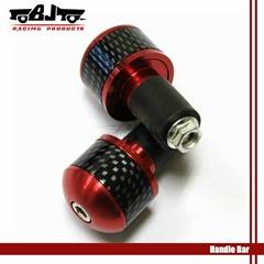 Red 7/8'' 22mm aluminum carbon bar end
