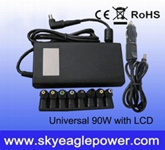 90W home and car(2 in 1) universal ac adapter with Big LCD