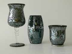 Mosaic candle holder and hurricane lamp