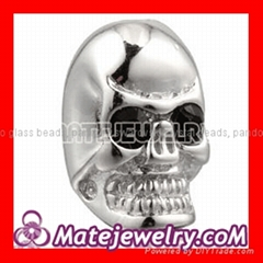 Cheap 925 Sterling Silver skull shamballa beads with stone wholesale
