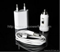 3 in 1 EU Wall Charger Car Charger USB Cable Travel Kit for iPhone 4 4S 3GS 3G