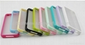 Colorful Rubber Frame Transparent Matte PC Case for Iphone 4 4S