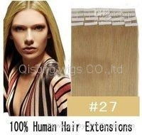"20"" 50g Tape Human Hair Clips on in Extensions ,tape hair,weft hair"