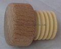 Wood cap synthetic cork wine bottle stopper WOLV29.5-2