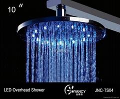 10' Brass  LED overhead shower