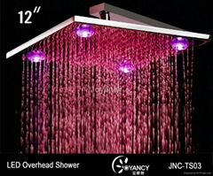 JNC-TS03  10' Brass  LED  Rain  shower