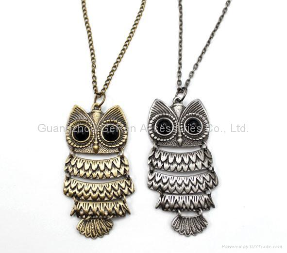 Archaize Antique gold and silver Fashion Owl pendant charm long necklaces 2