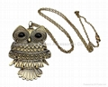 Archaize Antique gold and silver Fashion Owl pendant charm long necklaces 4