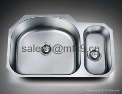Stainless Steel Offset Double Bowl