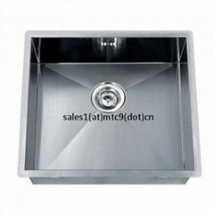 Satin Finish Zero Radius Handmade Flat Rim Single Bowl Undermount Kitchen Sinks