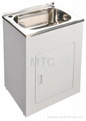 60cm High Polish Finish Stainless Steel Laundry Trough and Cabinet Pack