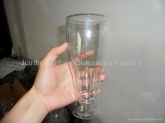 double wall glass beer mug