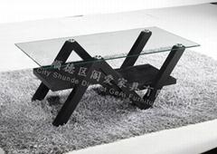 现代中纤板贴皮玻璃茶几