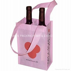 Promotional 2 bottle non woven wine bag