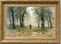 特羅卡純歐式風景手繪油畫客廳古典畫 希施金