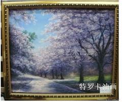 現代客廳時尚簡約抽象三聯純手繪油畫花卉 櫻花