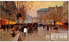 特羅卡油畫 街景 jj-011純歐式風景 手繪油畫 古典畫
