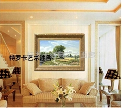 特罗卡纯欧式风景手绘油画客厅装饰画有框画抽象画古