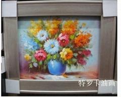 現代客廳時尚簡約抽象三聯純手繪油畫花卉