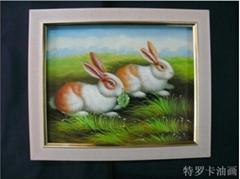 現代客廳時尚簡約抽象三聯純手繪油畫無框畫動物畫《小兔子》