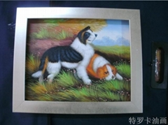 現代客廳時尚簡約抽象三聯純手繪油畫無框畫動物畫《狗狗》