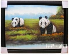 現代客廳時尚簡約抽象三聯純手繪油畫無框畫風景《熊貓》