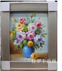 现代客厅时尚简约抽象三联纯手绘油画无框画花卉