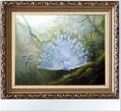 孔雀高档动物手绘油画 欧式有框画装饰画