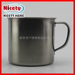 stainless steel mug with fixed handle