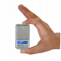 mini pocket scale with blue back light, tare function