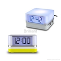 4 Port USB HUB with Clock and 7-color Mood Light