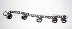 hot selling heart-shape stainless steel bracelet