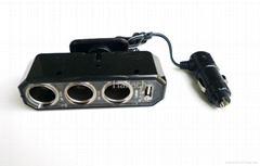 3 port with USB cigarette lighter adapter