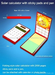 Solar calculator with note pad