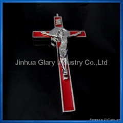 Red Enamel Inlay Wall St. Benedict Crucifix,Cruxfix,Crocefisso