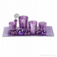 Glass candle set, candle plate