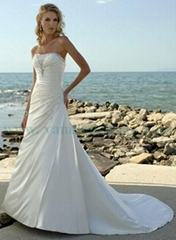 Nice Beaded Strapless A-line Beach Wedding Dress