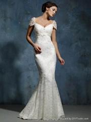 Mermaid Lace Wedding Dress with Cap Sleeves
