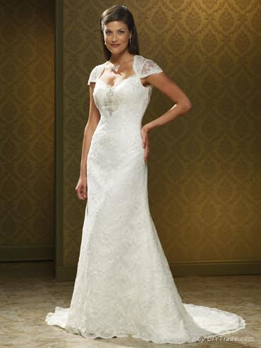 Nice Beaded Aline Lace Wedding Dress with Cap Sleeves