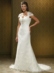 Nice Beaded A-line Lace Wedding Dress with Cap Sleeves