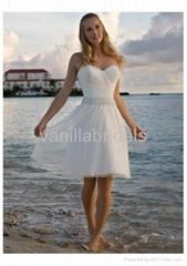 Stunning Strapless Knee-length Short Bridal Gown
