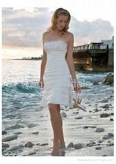 Skillfully Pleated Strapless Knee-length Wedding Dress