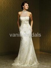 Gorgeous Slim Style High Neck Lace Wedding Dress