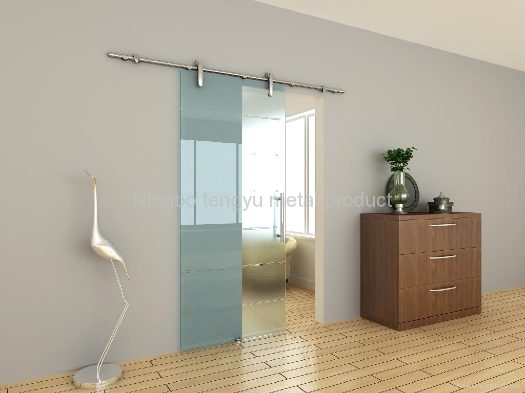 Sliding glass barn door hardware ty008 tengyu china for Sliding door with glass