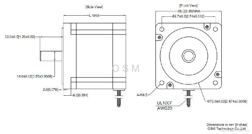 Nema 34 stepper motor wiring connection diagrams cnc for Nema stepper motor frame sizes